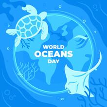 Flat World Oceans Day Illustration_4