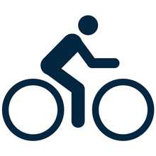 Bicycle Symbol For Map And Navigation Simple Line Icon Isolated On White Background. Bicyclist Simple Sign.