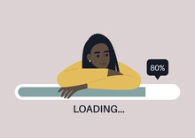 Young Female Black Character Leaning On A Progress Bar, File Uploading Concept