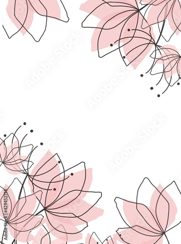 Photo minimal background in pink flowers and tropical summer leaf