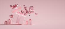 Dia Das Mães Com Texto Saindo De Dentro Da Caixa De Presentes 3d