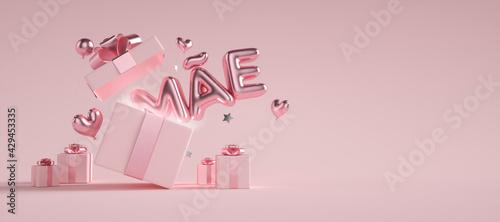 Obraz Dia das Mães com texto saindo de dentro da caixa de presentes 3d - fototapety do salonu