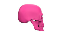 Skull In Profile  Isolated On A White Background. 3d Render Pink Skull