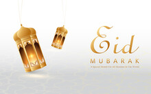 Modern 3D Lantern Banner, Perfect For Ramadan, Hari Raya, Eid Al-Adha And Mawlid. The Lantern Decoration Is Lit Against A Serene White Background