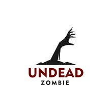 Undead Zombie Hand Vector Silhouette Out Of Ground, Dead Corpse Rising Hand Icon Logo