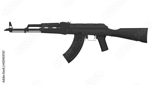 Fotografie, Obraz Black AK-47 assault rifle isolated on white background