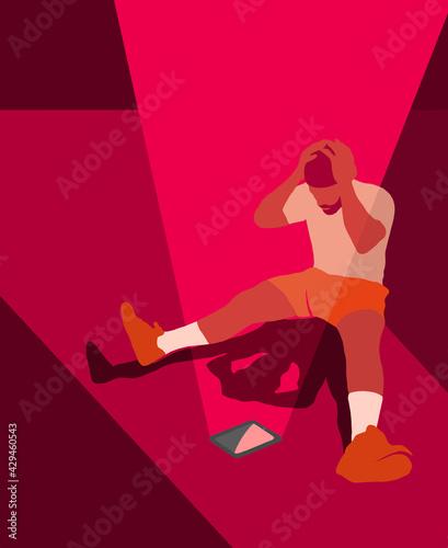 Obraz Mężczyzna spoglądający na tablet trzymając się za głowę - fototapety do salonu