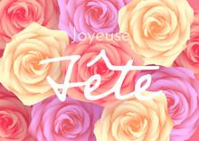 Plusieurs Roses Vues De Dessus, Jaunes, Violettes Et Rouges Pour Une Joyeuse Fête