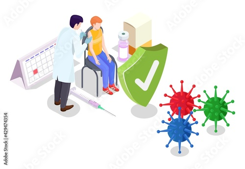 Covid coronavirus vaccination concept vector illustration isometric style. Covid-19 vaccine. Doctor makes an injection of flu vaccine to kid in hospital. People immunity and virus protection - fototapety na wymiar