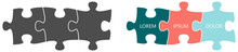 Simple Three Connected Jigsaw Puzzle Pieces Illustration, Gray And Colour Version