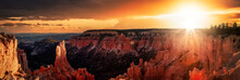 Aerial Panoramic View Of The Beautiful American Canyon Landscape. Dramatic Colorful Sunset Sky Artistic Render. Taken In Bryce Canyon National Park, Utah, United States