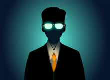 Mystical It Specialist In Glasses And Yellow Tie,vector Illustration