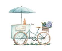 Ice Cream Bicycle Illustration. Watercolor Isolated Artwork On White Background. Street Food Gelato Scene