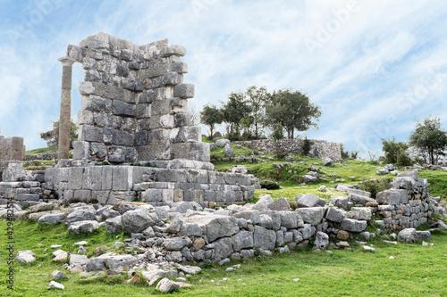 Fotografie, Obraz Mashnaqa temple, Roman ruins, Lebanon