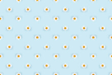 Symmetric Small Daisy Flowers With White Petals On Blue Background