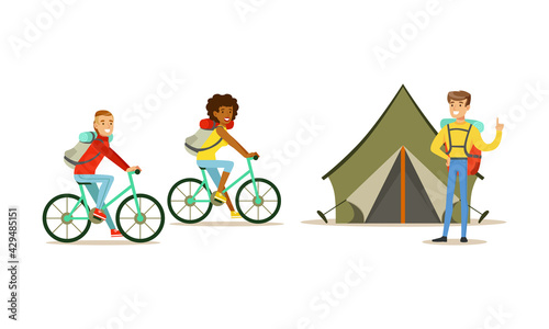 Fotografia, Obraz Cheerful People Characters with Backpack Hiking or Trekking Vector Illustration