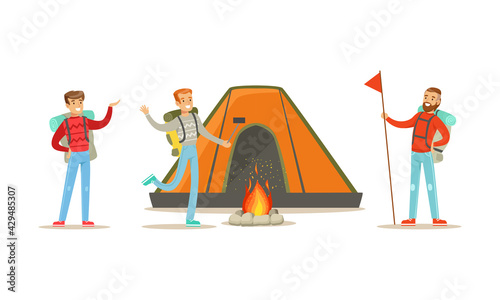 Fotografie, Obraz Cheerful People Characters with Backpack Hiking or Trekking Vector Illustration
