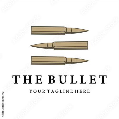 Fotografia bullet ammo vintage vector logo illustration template design
