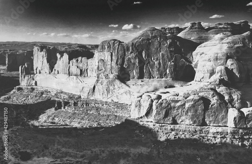 Park Avenue aerial view from helicopter in summer season, Arches National Park, Fototapeta