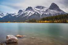 Spray Lake Reservoir In Kananasksis Alberta Canada With Snow On The Mountains In Early Fall