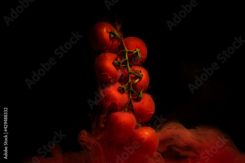 Tomatoes on a twig, vegetable plant with red motion liquid on black background #429488332