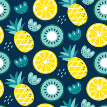 Seamless Cute Vector Floral Summer Pattern With Fruits Lemon, Kiwi, Pineapple, Flowers, Plants, Leaves