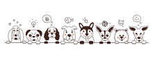 Doodle With Cute Dogs On A White Background. Vector Illustration