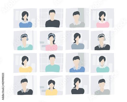 Fotografie, Obraz 画面上の人々 AI AIイメージ オンラインミーティング People on the screen
