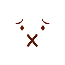 Cute Social Media Muted Face Emoji On A White Background. Royalty-free.
