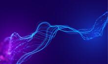 Data Wave Connect Line Bg. Data Graph Flow Technology. Futuristic Wave Tech Background