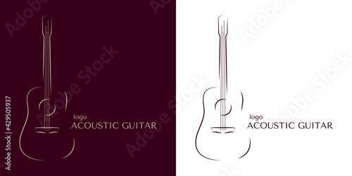 Fototapeta An example of an acoustic guitar logo in minimalism