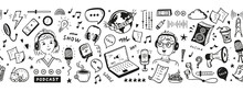 Podcast Show Equipment And Items Seamless Banner. Vector Border Pattern With Hand Drawn Doodle Man And Woman Speaking In Microphone. Workplace Of Radio Host Or Blogger.
