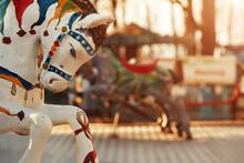 Soviet Abandoned Amusement Park. Vintage Carousel Horses. A Traditional Fairground Carousel