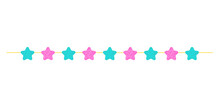 A Garland Of Pink And Green Stars. Thread With Ornaments. A Holiday Attribute. Vector