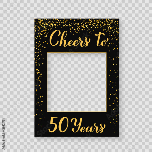 Fotomural Cheers to 50 Years photo booth frame on a transparent background