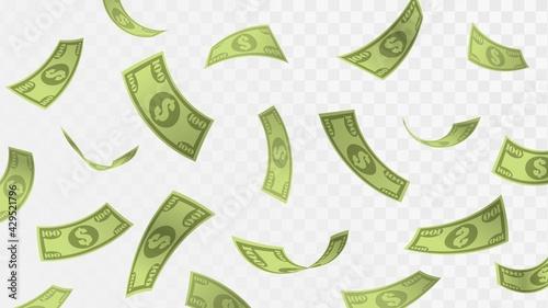 Tableau sur Toile Falling hundred dollar bills, rain of money