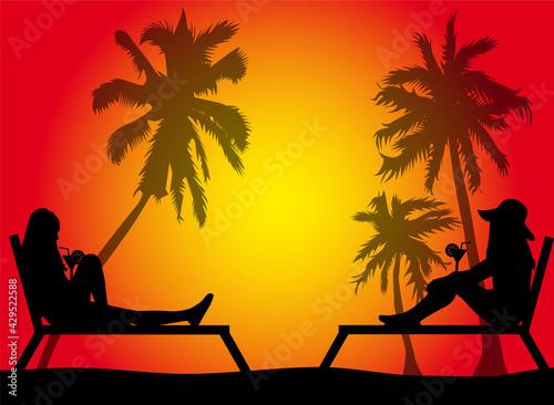 Women relaxing on deck chair Fotobehang