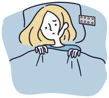 思い詰めて眠れない女性 シンプルイラスト