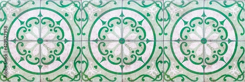 Fototapeta Panorama of Vintage antique white and green ceramic tile pattern texture and seamless background obraz