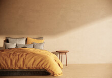 Japandi Style Bedroom Interior Design And Decoration, Minimal Apartment And Sunlight From Window. 3d Rendering