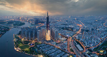 Top View Of Ho Chi Minh City And Landmark 81 In The Beautiful Sunset
