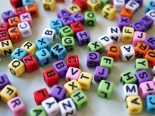 Colorful Alphabet Beads On White Background ,word On Cubes