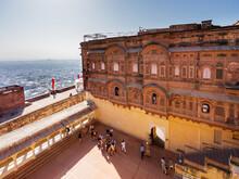 Inner Court Of Mehrangarh Fort In Jodhpur, India.