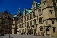 Medieval Kronborg Castle On The Oresund Strait, Courtyard With Tourist. Helsingborg, Denmark