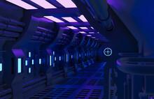 Modern Futuristic Sci Fi Spaceship,metal Floor And Light Panels,blue Neon Glowing Lights,interior Design Dark Background,spaceship Interior Architecture Corridor,cyberpunk Design,3d Rendering