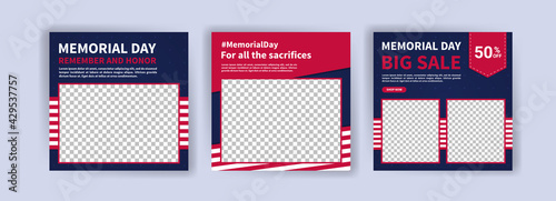 Memorial day greeting card displayed with the national flag of the United States of America. Social media templates for memorial day. - fototapety na wymiar