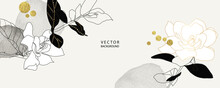 Minimal Background In Black And White Flowers And Tropical Summer Leaf Decorate With Golden Foil Metallic Texture