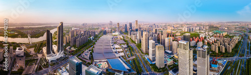 Fototapeta Aerial photography of the modern urban architectural landscape of Nanjing, China obraz