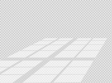 Overlay Shadow Effect. Transparent Overlay Window And Blinds Shadow. Realistic Light Effect Of Shadows And Natural Lighting On A Transparent Background. Vector Illustration