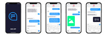 Mobile Chatting Sms App Template Bubbles. Chat Messages Composer. Isolated Smartphone Mockup With Bubbles,, Text, Image, Payment On White Background. Modern Vector Illustration.